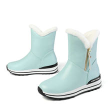 ESVEVA 2020 PU deri kama topuk fermuar yarım çizmeler kış sıcak kürk kar botları yuvarlak ayak platformu kadın ayakkabı büyük boy 34-43(China)