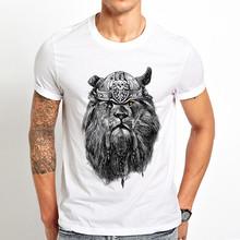 האריה ויקינג מצחיק t חולצה גברים קיץ חדש לבן מזדמן homme מגניב יוניסקס חולצת טי streetwear(China)