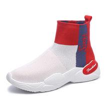 รองเท้าผ้าใบผู้หญิงเย็บถักด้านบน Breathable กีฬารองเท้าบูทถุงเท้าผู้หญิง Chunky รองเท้ารอง(China)