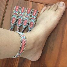 ルーン織り女性クリスタルビーズ手作り綿アンクレットブレスレット女性ビーチフットジュエリードロップシッピン(China)