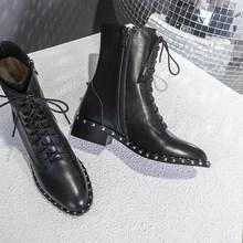 Martin çizmeler 100% gerçek inek derisi kadın Boussac Lace up perçinler yuvarlak ayak yarım çizmeler kadın kısa peluş kış ayakkabı Botas(China)