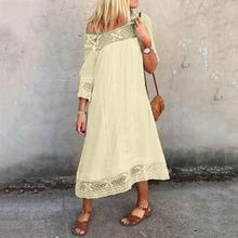 ผู้หญิง Lace Maxi ชุดเดรสฤดูใบไม้ร่วง Vestidos หญิงแขนยาว Boho ชุด 2019 ใหม่ Bohemian Casual Beach Dress(China)