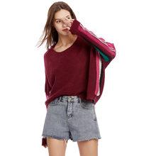 Suéteres de mujer Pullovers Pull Femme Hiver sudaderas mujer de manga larga de cuello redondo Bat manga Rainbow Stripe suéter de punto(China)