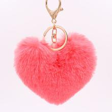 Lisa/модные пушистые брелки с сердечками, женские Брелки с искусственным кроличьим мехом, автомобильная сумка, аксессуары, ювелирный ключ, це...(China)