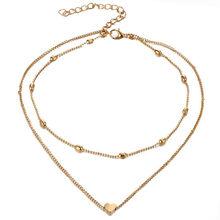 خمر متعدد الطبقات كريستال قلادة قلادة المرأة الذهب اللون الخرز القلب القرن الهلال المختنق القلائد الذهب نقطة قلادة النساء(China)