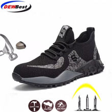 DEWBEST Mens Steel Toe Work Safety Shoes Lightweight Breathable Anti-smashing Anti-puncture Anti-static Protective Boots(China)