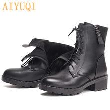AIYUQI kadın yarım çizmeler hakiki deri yün sıcak topuk büyük boy 41 42 43 çizmeler kadın askeri kış ayakkabı çizmeler(China)