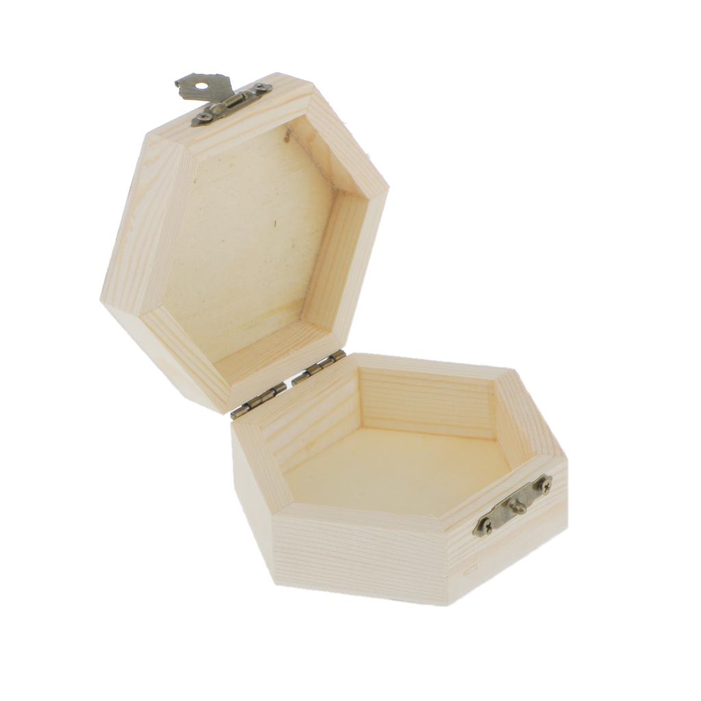 Phenovo Unpainted Hexagonal Wooden Jewelry Box Trinket Case Jewelry Gift Box Home decor craft