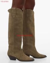 2019 hohe qualität Spitz Wildleder Echtes Leder Bestickt Knie hohe Stiefel für Frauen Spitze Zehen Platz chunky heels Cowboy lange Stiefel Flache Ritter Stiefel(China)