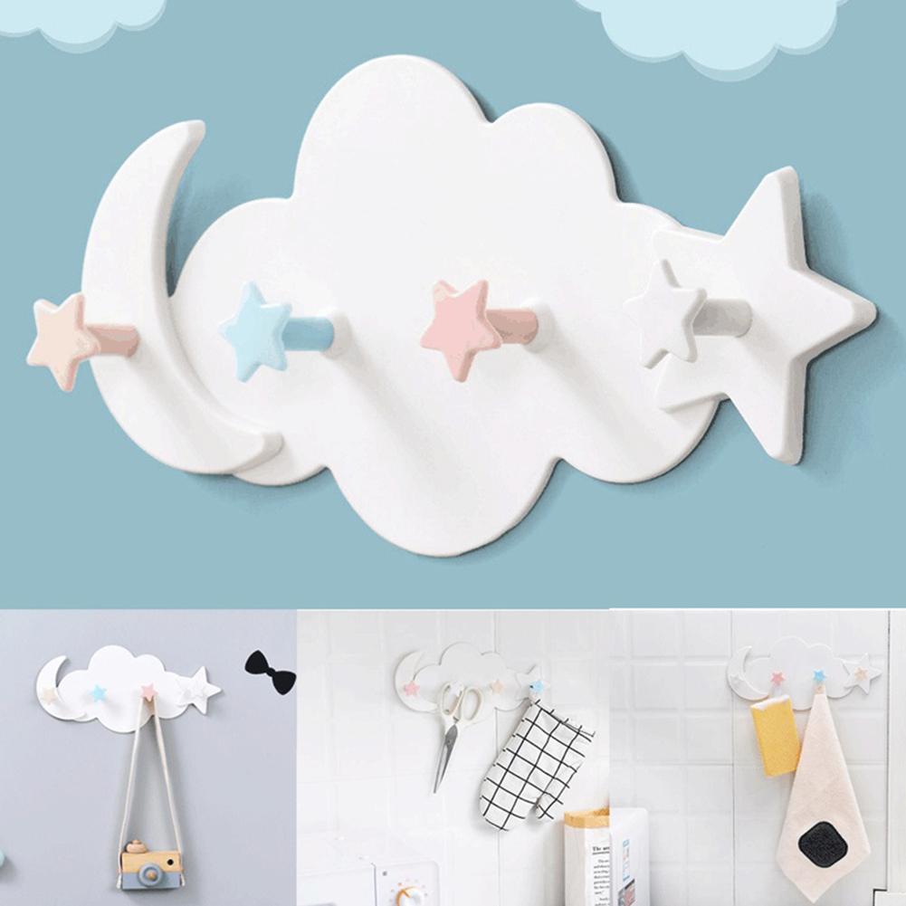 Cute Star Moon Cloud Wall Clothes Hook Kids Room Key Hanging Hanger Storage Hook