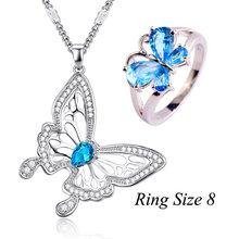 Lingmei חדש אופנה פרפר חתונה טבעות כחול קשת זירקון תכשיטי נשים כסף טבעת תליון שרשרת שרשרת מפלגה מתנות(China)