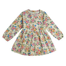 2019 סתיו ילדה שמלת כותנה ארוך שרוול ילדי שמלות מנוקדת ילדים שמלות בנות אופנה בנות בגדים(China)