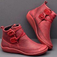 JODIMITTY yarım çizmeler kadın PU deri kış çapraz kayış Vintage peluş Punk sıcak kısa çizmeler düz bayanlar ayakkabı Botas Mujer(China)