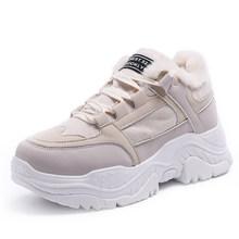 Fujin Nữ Giày Thể Thao Mùa Đông Giày Sang Trọng Lông Ấm Nữ Giày Nữ Buộc Dây Giày Bốt Nữ Comrfortable Nền Tảng Giày Nữ(China)