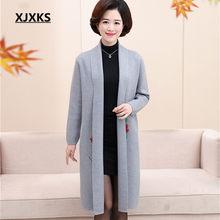 XJXKS di stampa di Modo delle donne di lana del cappotto 2019 autunno inverno nuovo allentato più il formato cachemire lavorato a maglia cardigan delle donne del cappotto(China)