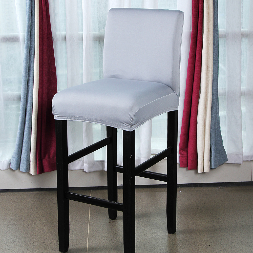 Solid Color Dining Room Chair Seat Cover Bar Stool Slipcover Party Decor