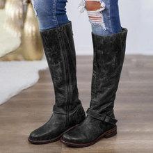 Kadın Retro uzun çizmeler artı boyutu PU motosiklet botları kış kadın fermuar toka askı platformu sonbahar moda bayan ayakkabıları(China)