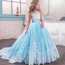 Свадебное кружевное платье для девочек с шлейфом Детские платья подружки невесты для девочек, детское длинное платье принцессы Vestido платье ...(China)
