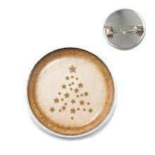 Kopi Latte Ukiran Cinta Jantung 20 Mm Kaca Cabochon Bros Coklat Printing Empat Daun Semanggi Pesona Kerah Pin untuk Wanita pria(China)
