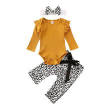 LOOZYKIT recién nacido niña bebé sólido volantes tejer mameluco camisetas + Pantalones largos de leopardo 3 uds conjunto de ropa de Otoño Invierno(China)