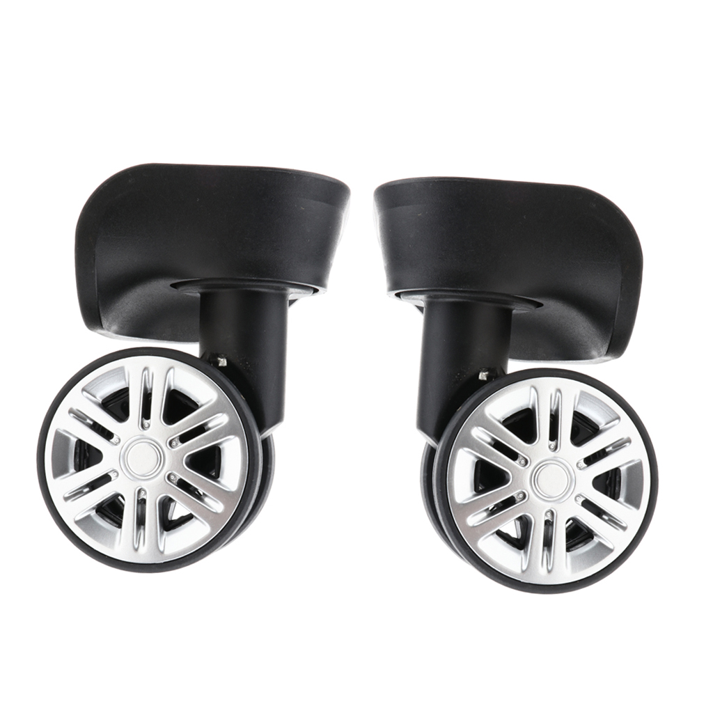 1 Pair Mi Shaped Mute Swivel Suitcase Luggage Baggage Wheels Replacement Casters