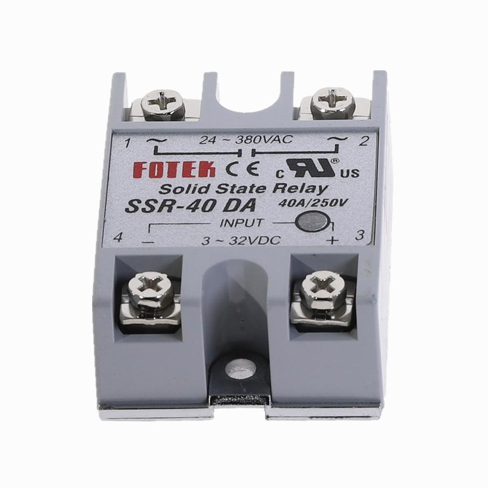 Fotek Solid State Relay Module Heat Sink 3-32V DC Input 24 380VAC SSR-40DA 40A