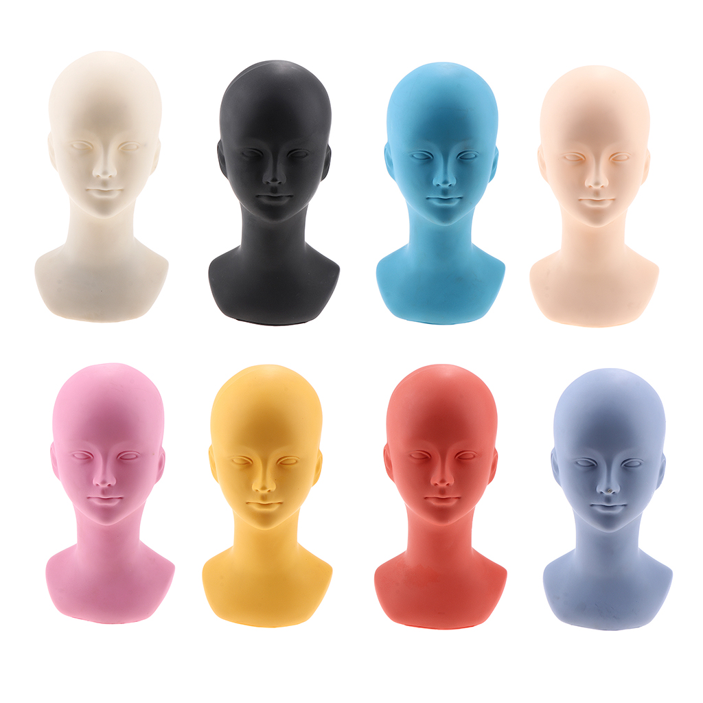 PVC Short Wig Display Mannequin Head Makeup Manikin Head Model For Hat Cap Glass
