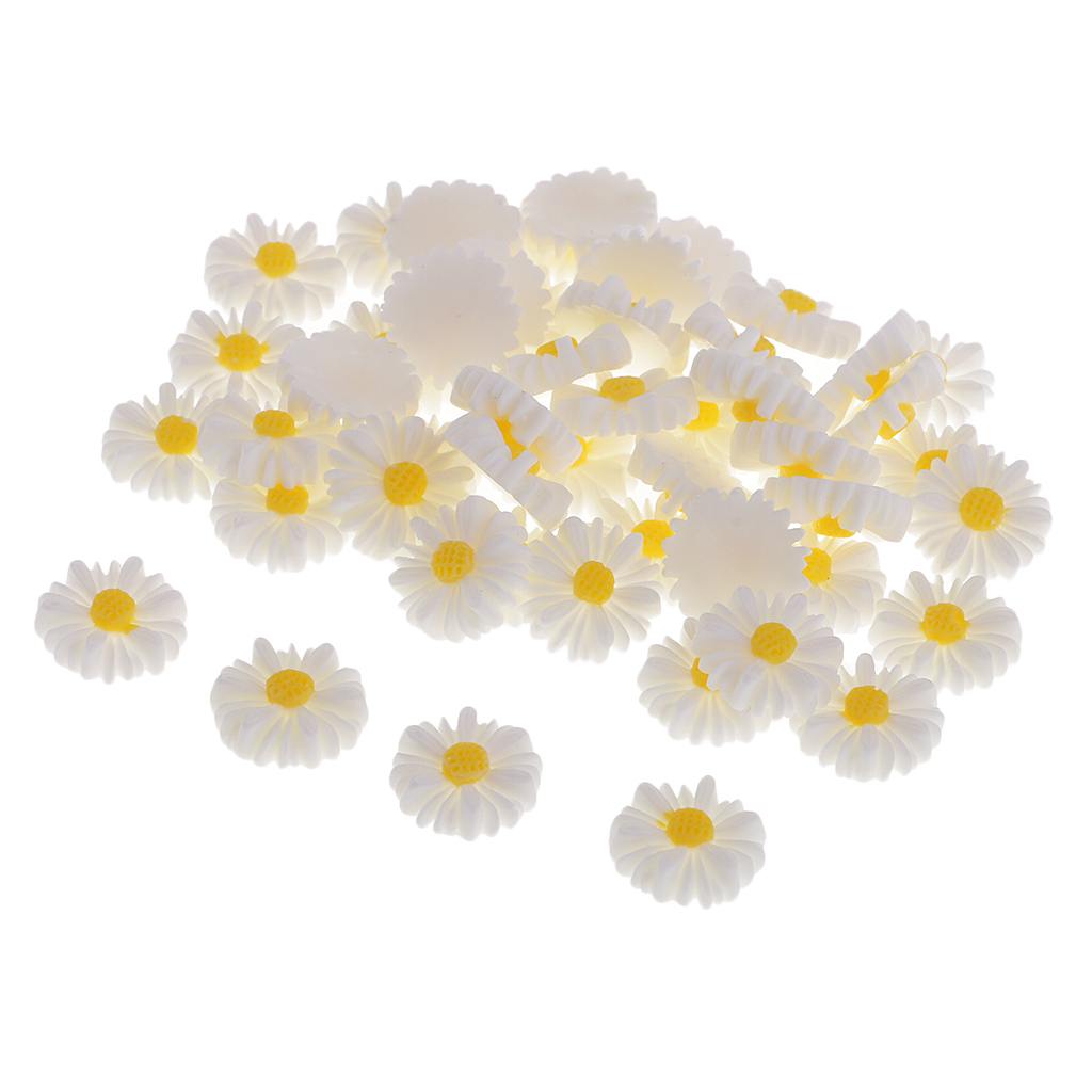 50pc Flatbacks Resin Daisy Flower DIY Hair Bow Craft Embellishments Cabochon