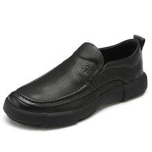 Nieuwe Business Casual Schoenen Lichtgewicht heren Schoenen Schokabsorptie antislip Comfortabel Mannen Loafers Scrub Leer(China)