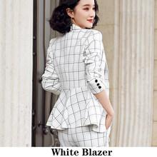 ファッションカジュアルなチェック柄パンツスーツ女性 S-5XL 女性ブレザースーツピンクホワイトブラックコートとパンツ 2 点セット(China)