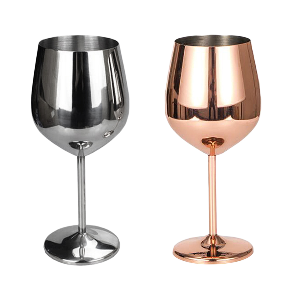 Stainless Wine Glass Goblet White or Red Wine Drinking Glasses Cup Silver Red Wine Goblet Rose Gold
