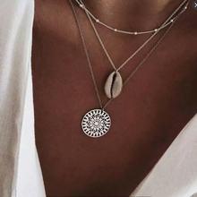 RAVIMOUR 19Style Boho colliers pour femmes Vintage or argent chaîne longue lune déclaration collier pendentif bohème Choker bijoux(China)
