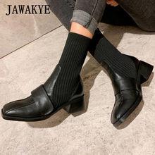 Yılan derisi deri örme çorap çizmeler kadın siyah şarap kırmızı kare tıknaz topuklu yarım çizmeler üzerinde kayma elastik botlar zapatos mujer(China)