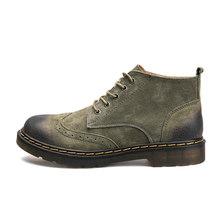 Mannen Lederen Laarzen Zacht Varkensleer Enkellaarsjes Mannen High Tops Mode Werkschoenen Mannelijke Casual Comfortabele Veiligheid Laarzen Botas Hombre(China)