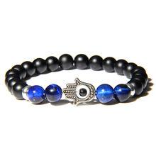 Bracelet en pierre naturelle bleu œil de tigre hommes mode bouddha Fatima Bracelet de charme de main 8 mm mat noir Onyx Bracelet femmes bijoux(China)