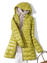 7XL, зимний женский пуховик с капюшоном, длинная куртка, белый утиный пух, Женское пальто, ультра-тонкий светильник, одноцветные куртки, пальт...(China)