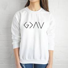 Bóg jest większy niż wzloty i upadki kobiet bluza pełna rękaw wierzyć kobieta jezus Jumper Christian sweter Drop Shipping(China)