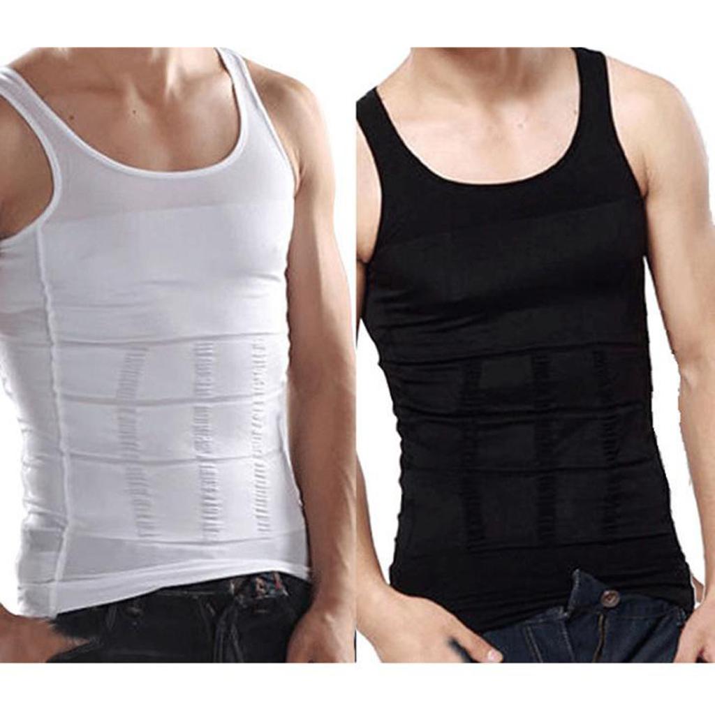 Men/'s Slim Body Shaper Underwear Vest Shirt Belly Compression Sports Corset