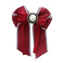 1pcs Arco di Cristallo Donna Spille Spilli Tessuto della Tela di canapa Bowknot Tie Cravatta Corpetto Spilla per Le Donne Abbigliamento Accessori Del Vestito(China)