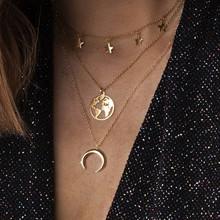 Vòng Cổ Choker Nữ Vintage Boho Dây Chuyền Vàng Collares Trang Sức Trái Đất Mặt Trăng Tròn Sang Trọng Lớp Dây Chuyền Mặt Dây Phụ Kiện(China)