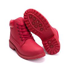 Enkellaars Voor Vrouwen 2019 Nieuwe Merk Snowboots Fashion Warm Winter Laarzen Vrouwen Solid Vierkante Hak Schoenen Vrouw Plus maat 36-41(China)