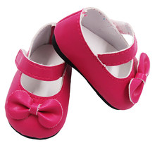 Hohe Qualität Puppe Schuhe für 43cm Höhe Mädchen Puppe 6 Verschiedenen Farben Puppe Schuhe Mit Bogen für Baby Weihnachten geschenk Puppe Zubehör(China)
