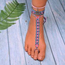 Lua menina 3 pçs charme tornozeleiras para as mulheres tecido boêmio cristal artesanal tornozeleira pulseiras feminino praia pé jóias dropshipping(China)