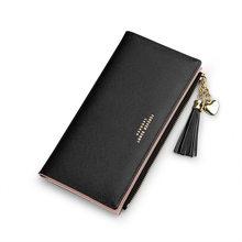2019 borla carteira feminina longo bonito carteira de couro borla carteiras com zíper portefeuille feminino bolsa embreagem cartera mujer(China)