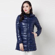 Down Jacket Women Brand New Winter Warm Jackets Women's Long Light White Duck Down Jacket 5XL 6XL 7XL Ultralight Hooded Coats(China)