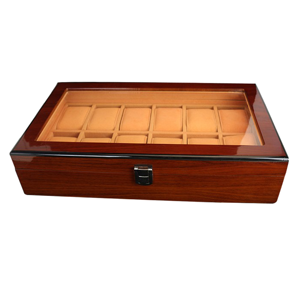 Wooden Watch Box Case Organizer Display for Men Women, 12 Slots Wood Box with Large Clear Glass Top