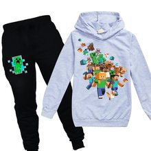 2020 Spring Autumn Cartoon Minecrafted Boys Long Sleeve T Shirt Hooded Suit Children Kids Tops +pants 2pcs 2t Winter Clothes(China)