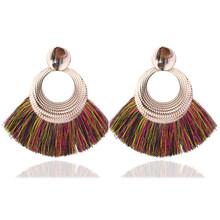 ใหม่ Bohemian Handmade Tassel ต่างหูผู้หญิง Vintage Long Drop ต่างหู Boho ผ้าฝ้ายเชือกสาน Fringe Sector (China)
