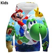 Новинка 2020 года; комплект детской одежды с героями мультфильма «Супер Марио»; толстовка с капюшоном и 3D-принтом для маленьких девочек и маль...(China)