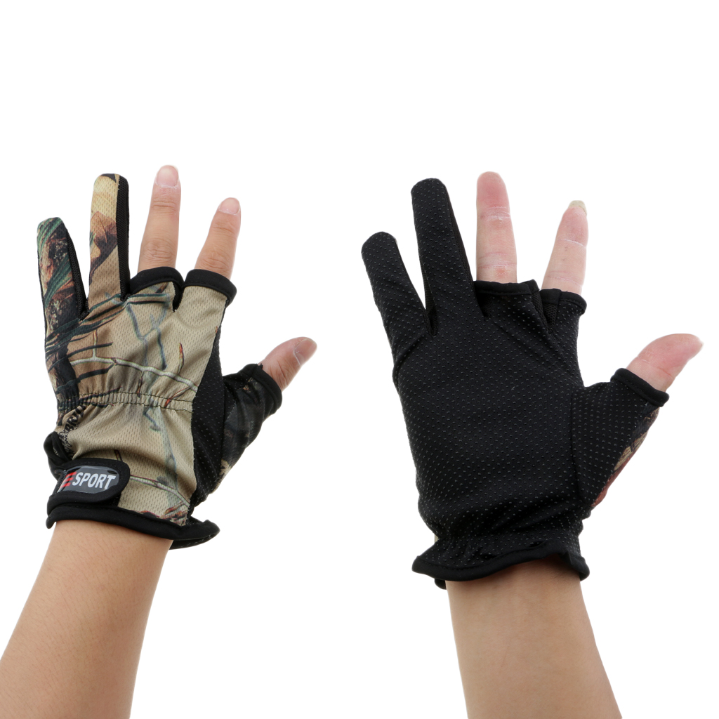 Camouflage Fishing Gloves Shooting Hunting Non Slip 3 Low-cut Fingers Gloves